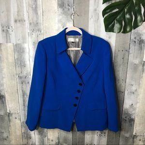 Tahari ASL Blue Asymmetrical Blazer Size 16